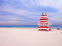 Lifeguard Tower in South Beach, Miami. Beach, Florida,someone sitting on side with bike. 2015 Royalty Free Stock Image