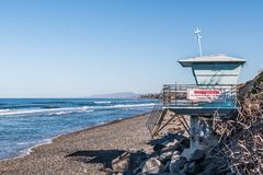 Lifeguard Tower on South Carlsbad State Beach Stock Photos