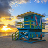 Lifeguard tower at sunrise Stock Image