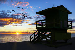 Lifeguard tower at sunrise Stock Photography
