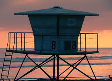Lifeguard tower at sunset Royalty Free Stock Photography