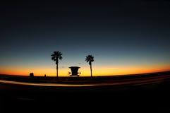 Lifeguard Tower at sunset at the beach. Royalty Free Stock Image
