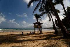 Lifeguard tower on tropical beach Stock Images