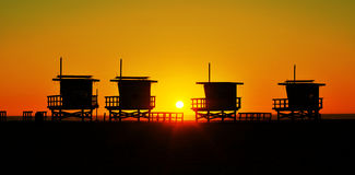 Lifeguard towers in Venice Beach, United States. At sunset stock photo