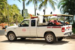 Lifeguard Truck. Honolulu, Hawaii- September 19, 2013:  Even though The water at Waikiki Beach is relatively calm, there are times when swimmers get in trouble Royalty Free Stock Photo