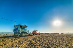 Lifeguard truck and hut in Venice beach Royalty Free Stock Image