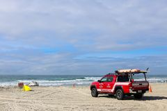 Lifeguard truck in sand at Mission Beach in San Diego, California Stock Photo