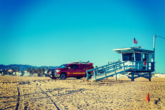 Lifeguard truck and tower in Venice beach Royalty Free Stock Photography