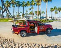 Lifeguard truck in Venice beach Royalty Free Stock Photos