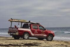 Lifeguard vehicle at sunset in San Diego Stock Images