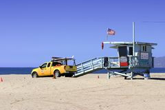Lifeguard Vehicle And Tower. On Los Angeles Beach Stock Images
