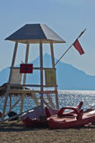 Lifeguard watchtower on beach at morning in Sithonia Royalty Free Stock Image