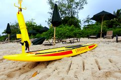 Lifeguard windsurf on standby Stock Photos