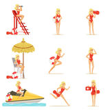 Lifeguard woman character doing his job. Water rescue vector Illustrations. Isolated on a white background Stock Photography