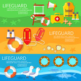 Lifeguards banners professional lifeguard on the beach Royalty Free Stock Photos