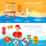 Lifeguards banners work of a professional lifeguard on the beach Royalty Free Stock Images