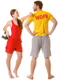 Lifeguards with binoculars. Accident prevention. Stock Photos