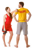 Lifeguards with binoculars. Accident prevention. Royalty Free Stock Image