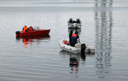 Lifeguards boats on the water in winter Royalty Free Stock Photography