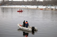 Lifeguards boats on the water in winter Stock Photography