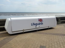 Lifeguards container for equipment on the sea front at Bridlington UK Stock Image