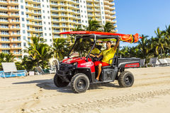 Lifeguards driving a Beach Buggy in Miami Beach Royalty Free Stock Photography