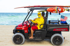 Lifeguards driving a Beach Buggy in Miami Beach Royalty Free Stock Photo