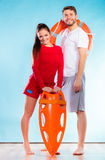 Lifeguards on duty with equipment Stock Photos