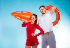 Lifeguards on duty with equipment Stock Photo