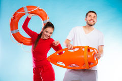 Lifeguards on duty with equipment Royalty Free Stock Photo