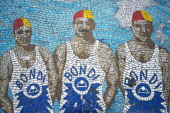 Lifeguards mosaic bench in bondi beach sydney australia Stock Photos