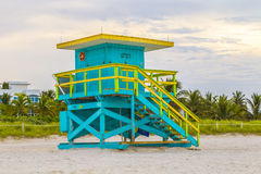 Lifeguards outpost tower in South Beach, Miami Stock Images
