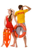 Lifeguards with rescue and ring buoy lifebuoy. Stock Photos