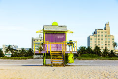 Lifeguards Stand at South Beach Royalty Free Stock Image