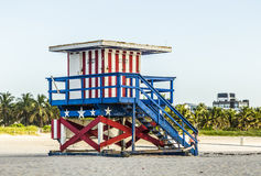 Lifeguards Stand at South Beach Royalty Free Stock Images