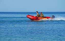 Lifeguards surveyance in a boat at the Black Sea. Salvamar rescue - Baywatch boat hurrying to save people at the Black Sea Royalty Free Stock Photography