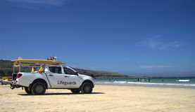 Lifeguards truck on beach Royalty Free Stock Images