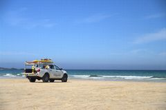 Lifeguards truck on beach 2 Royalty Free Stock Image