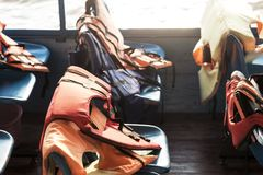 Lifejacket in a boat for safety during the voyage. At river Royalty Free Stock Photography