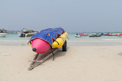 Lifejacket placed on a banana boat. Stock Photography
