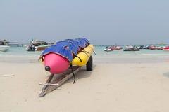 Lifejacket placed on a banana boat. Lifejacket placed on a banana boat on the beach Stock Photography