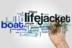 Lifejacket word cloud. Concept on grey background Stock Images
