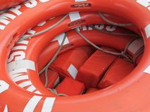 Lifejackets & Lifesavers. On a boat in Toronto Ontario stock photography