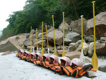 Lifejackets and oars lined up. For rafting, rishikesh, india royalty free stock images