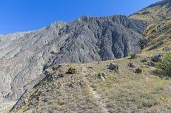 Lifeless clay slope. With traces of soil erosion. Cape Meganom, Crimea Royalty Free Stock Photos