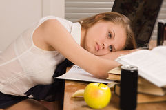 Lifeless college girl Stock Photo