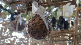 Lifeless concept decorated items on the tree stock footage