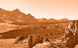 Lifeless martian landscape. In highland in Tenerife, The Canaries Royalty Free Stock Photos