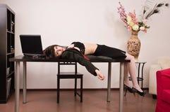 Lifeless secretary in a office. Crime scene imitation. Lifeless secretary in a office Stock Photography