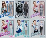 Lifelike toy dolls collection. Lifelike female toy dolls collection and packaging with different outfits: tourist, secret agent, housewife, sportswoman, doctor royalty free stock photography